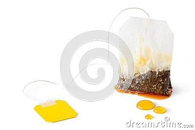 Saquinho de chá molhado usado