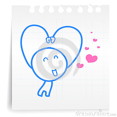 Sarang hae yo Love you cartoon_on paper Note