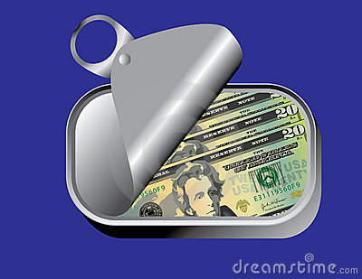 Sardine can with money