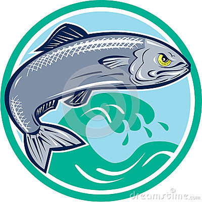 Sardine Fish Jumping Circle Retro