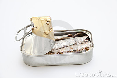 Sardines in a can half-open
