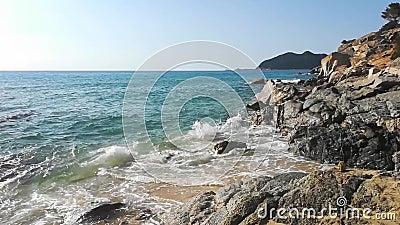 Sardinië Italië Cala Monte Turno Beach stock videobeelden