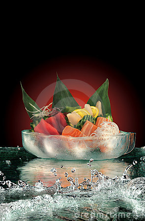 Sashimi on ice with water