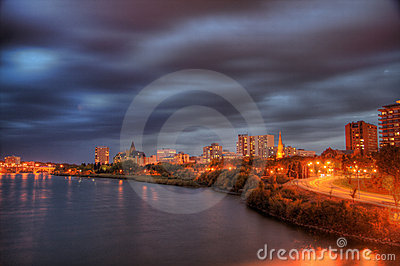 Saskatoon At Night Stock Images - Image: 7046724