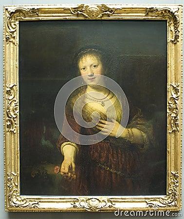 Saskia van Uylenburgh by Rembrandt van Rijn Editorial Photography