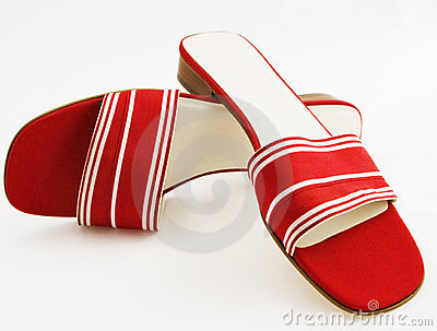 Sassy red and white silk grosgrain sandals.
