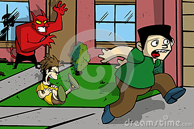 Satan prank cartoon illustration