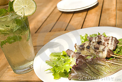 Satay with mojito cocktai
