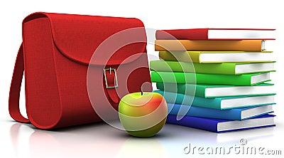 Satchel, books and apple