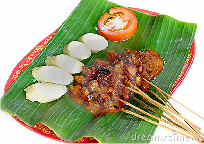 Sate, indonesian legendary food, made of smoked chicken or goat meat.