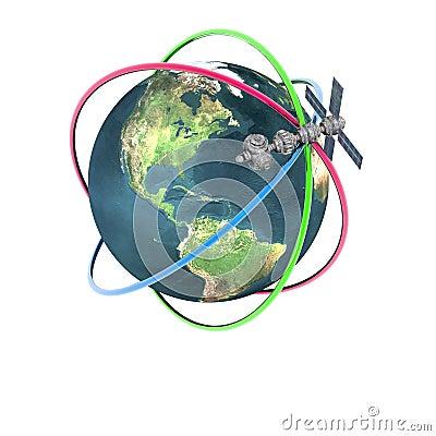 Satelliet spoetnik cirkelende aarde