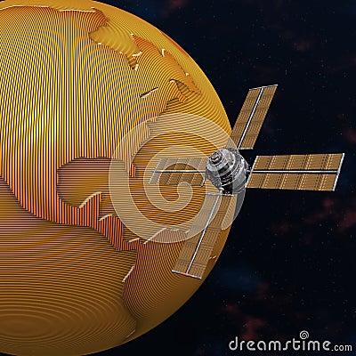 Satelliet spoetnik cirkelende aarde in ruimte