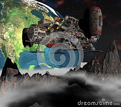 Satelliet spoetnik die 3d aarde cirkelt