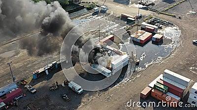 Satellietbeeld van Containerbrand Philadelphia Marine Terminal stock videobeelden