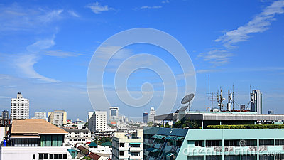 Satellite dish and antenna on high building