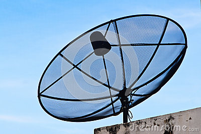 Satellite Dish In Blue Sky Royalty Free Stock Images - Image: 25470239