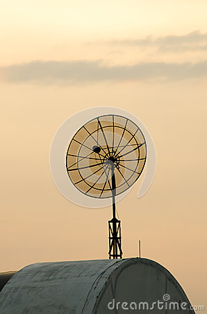 Satellite dish on building roof