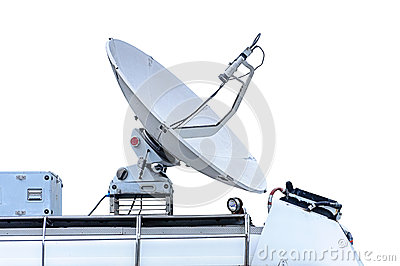 Satellite dish on mobile car roof