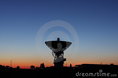 Satellite dish at sunset.