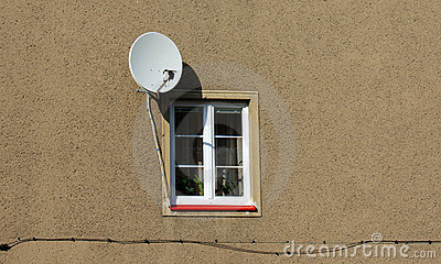 Satellite dish at the window