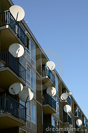 Satellite dishes on an apartment building