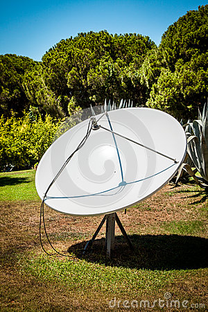 Satellite dishes on the nature