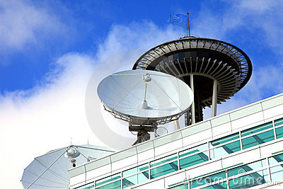 Satellite dishes, telecommunication media center. Editorial Photography