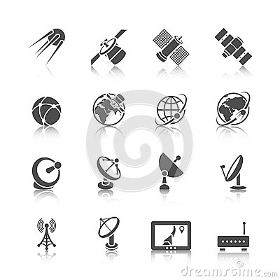 Free Satellite Icons Set Stock Image - 43808701