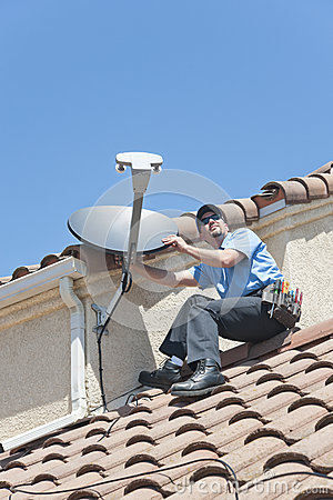 Satellite Installer on Roof 2
