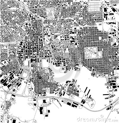 Satellite map of Baltimore, Maryland, city streets. Usa Vector Illustration
