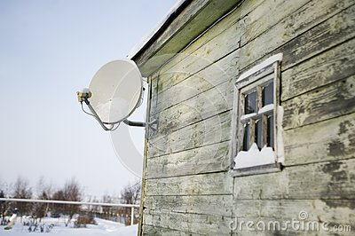 Satellite plate on a house wall