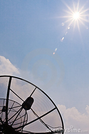 Satellite reciever pointing to the sun vertical
