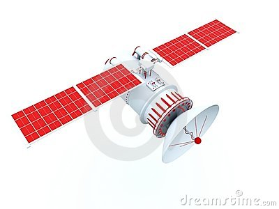 Satellite with red elements