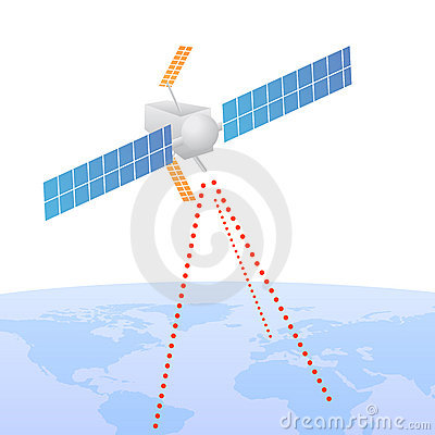 Satellite sending signal to earth