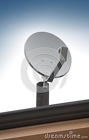 Satellite TV antenna on roof