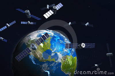 Satellites and earth