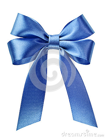 Satin blue ribbon bow