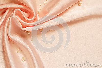 Satin drapery with pearls