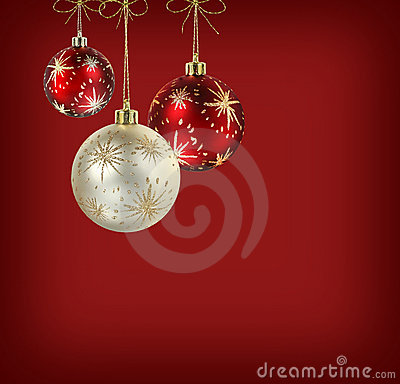 Free Satin Red And White Christmas Balls Stock Photography - 10734352
