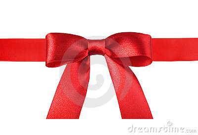 Satin red ribbon bow