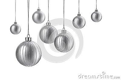 Satin silver christmas balls
