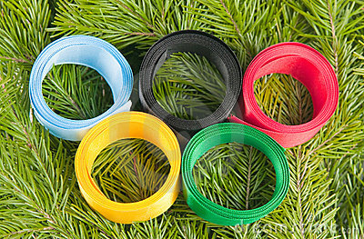 Satiny tapes combined in the form of Olympic rings