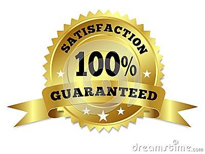 Satisfaction d insigne d or garantie avec le ruban