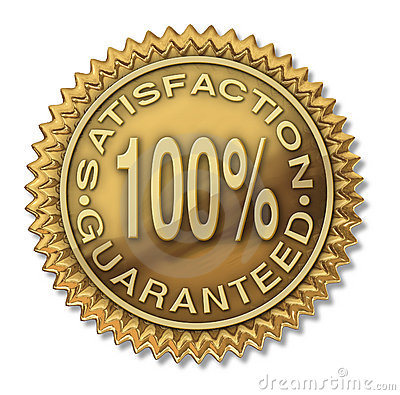 Satisfaction Guaranteed 100 Gold Stamp Stock Images
