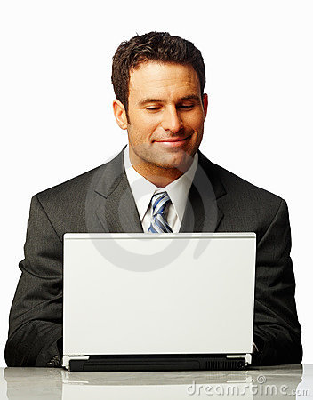 Satisfied business man working on a laptop