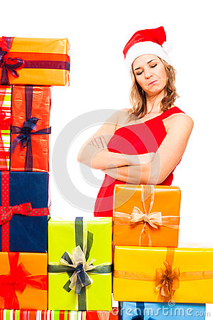 Satisfied Christmas woman and gifts