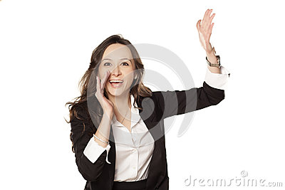Happy woman shouting