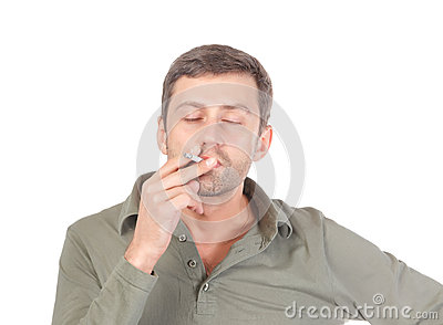 Satisfied man smoking