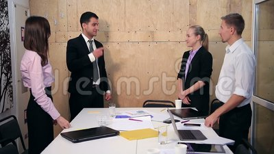Satisfied proud business team clapping hands stock video footage