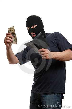 Satisfied robber takes money from stolen wallet.